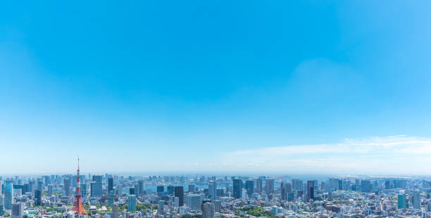 Tokyo Bay side panoramic view13 Take a panoramic view of Tokyo Bay horizon over land stock pictures, royalty-free photos & images