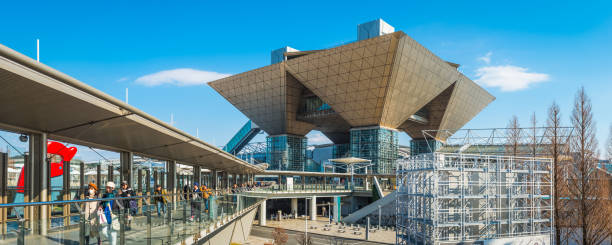 Tokyo Big Sight crowds at Odaiba conference centre panorama Japan stock photo