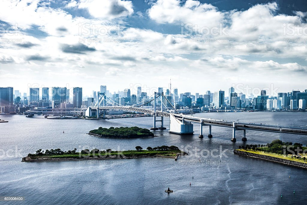Tokyo city modern bridge and downtown cityscape stock photo
