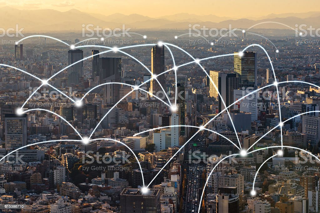 Tokyo city scape and network connection cepncept stock photo