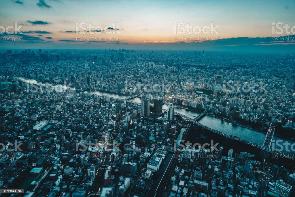 Tokyo city skyline as seen from above at sunset stock photo