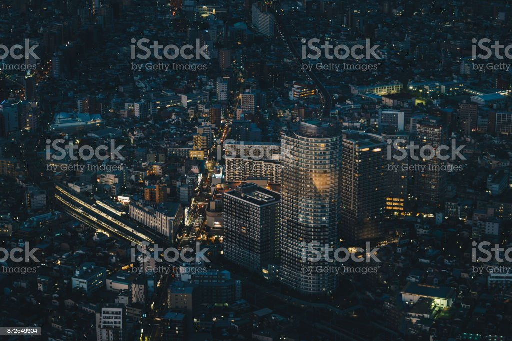 Tokyo city skyline at night aerial photography stock photo