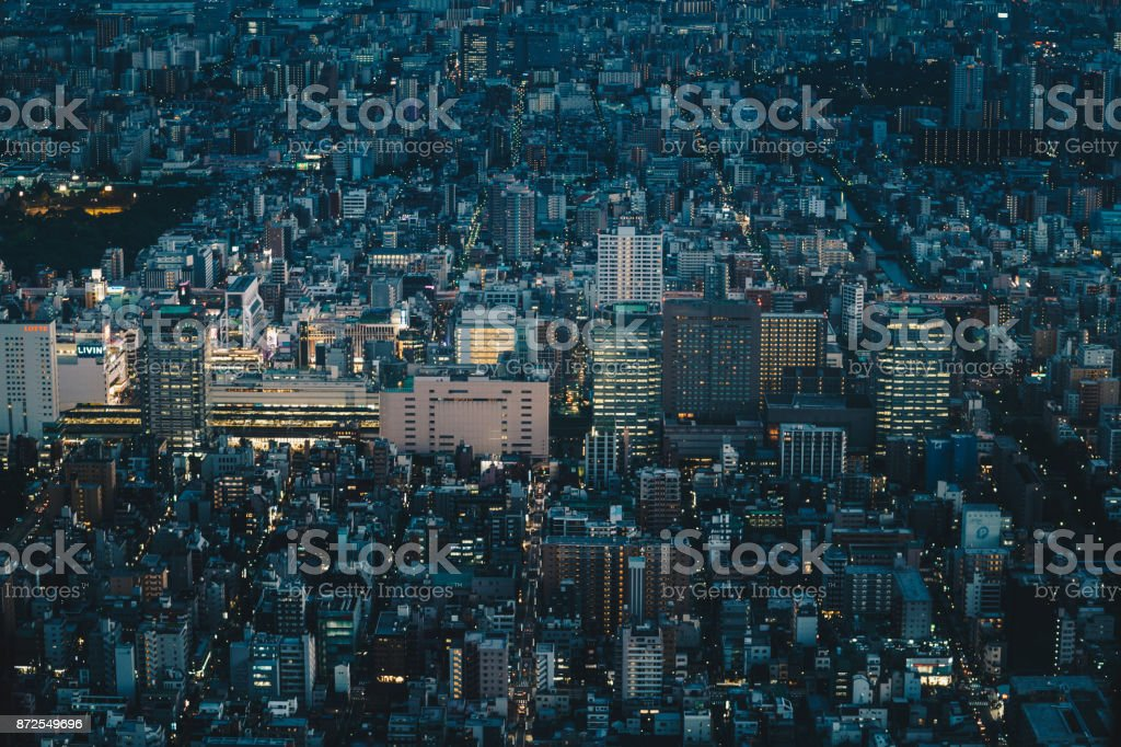 Tokyo city skyline at night as seen from above. Aerial photography of Tokyo, the capital city of Japan stock photo