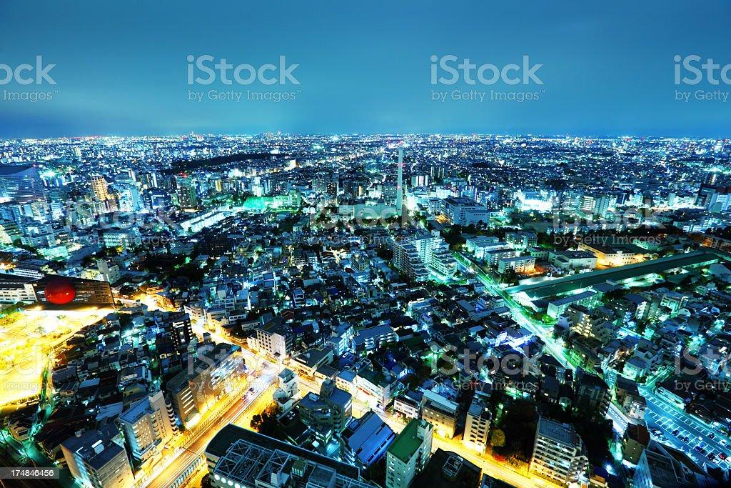 Tokyo city skyline at night royalty-free stock photo