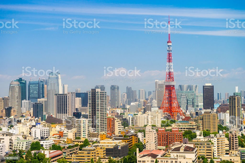 Tokyo City Skyline with view of Tokyo tower stock photo