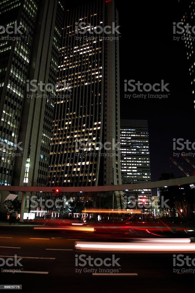 Tokyo city skyscraper at night - wide angle royalty-free stock photo