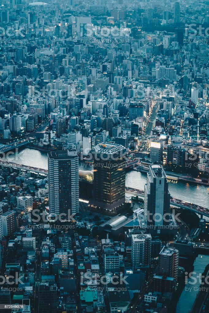 Tokyo city skyscrapers as seen from above stock photo