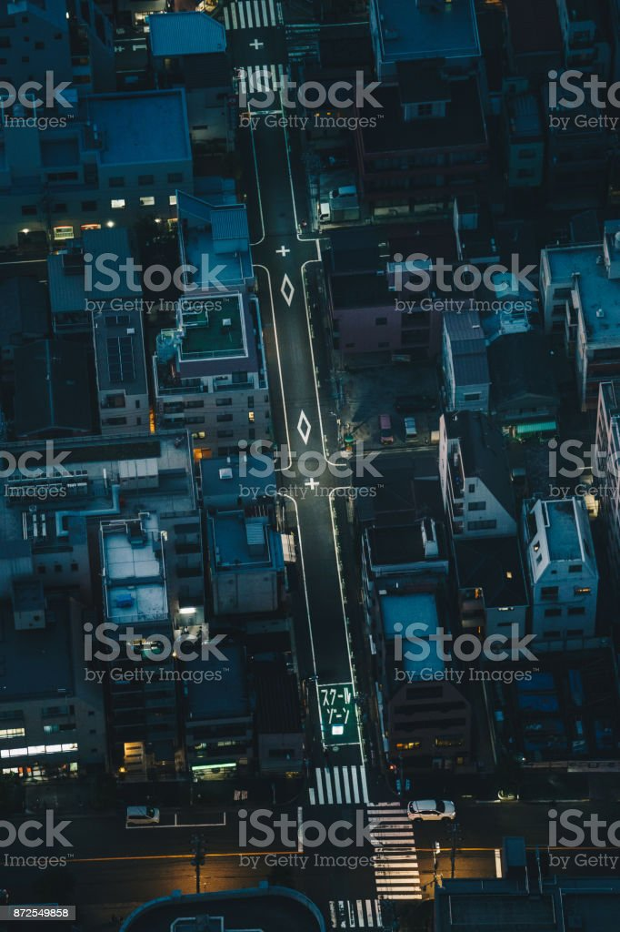 Tokyo city streets at night as seen from above aerial photography stock photo