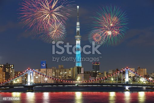 istock Tokyo city view and beautiful firework at night 497393988