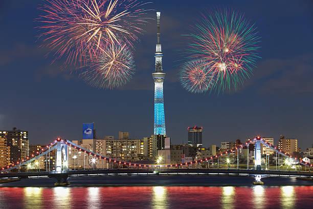 Tokyo city view and beautiful firework at night stock photo