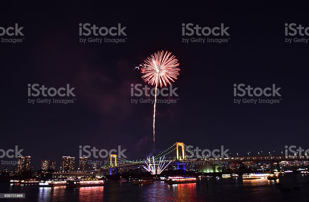 Tokyo city view and fireworks royalty-free stock photo