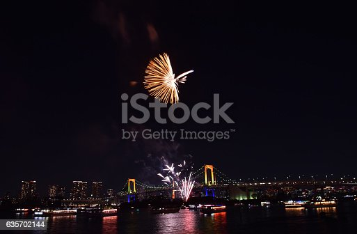 Tokyo City View And Fireworks Stock Photo & More Pictures of Beauty