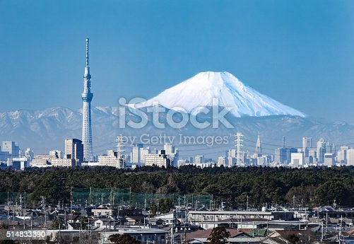 1131743616 istock photo Tokyo city view and mountain fuji in winter 514833390
