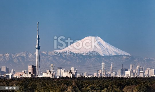 1131743616 istock photo Tokyo city view and mountain fuji in winter 610049916