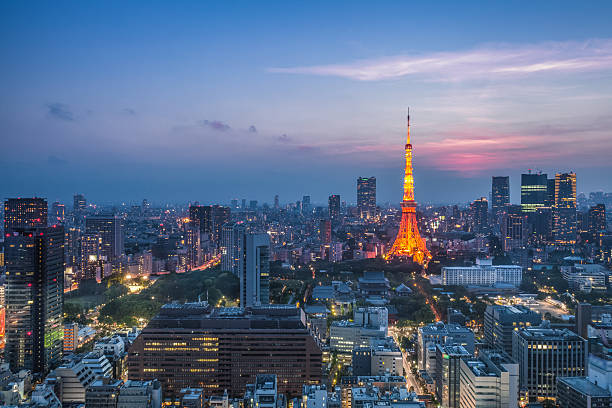 Tokyo city view and Tokyo Tower stock photo