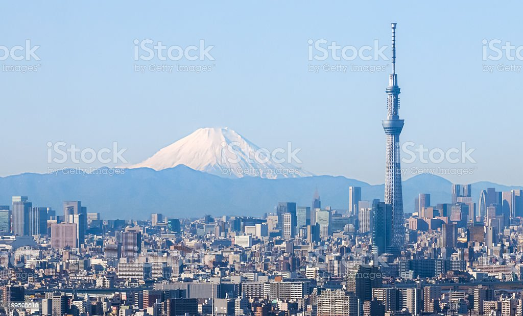Tokyo city view with Tokyo sky tree and Fuji mountain stock photo