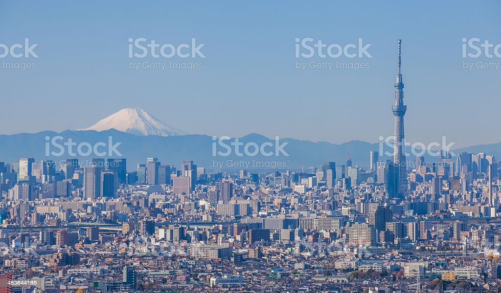 Tokyo city view with Tokyo sky tree and Mountain Fuji stock photo