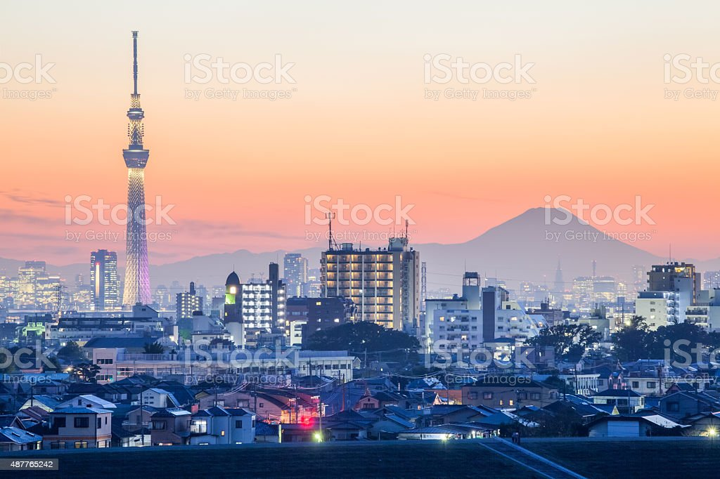 Tokyo city view with Tokyo skytree and mountain fuji stock photo