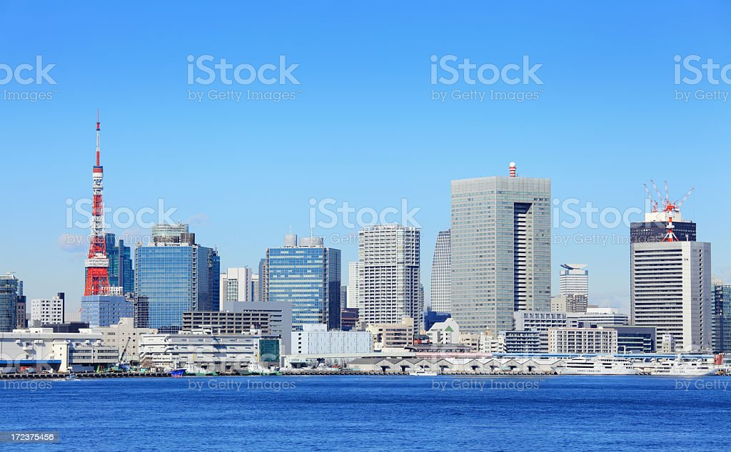 Tokyo city with tower royalty-free stock photo