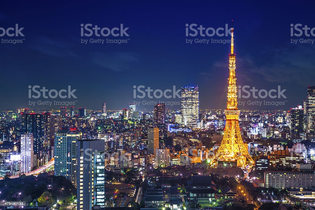 Tokyo Cityscape at Tokyo Tower stock photo