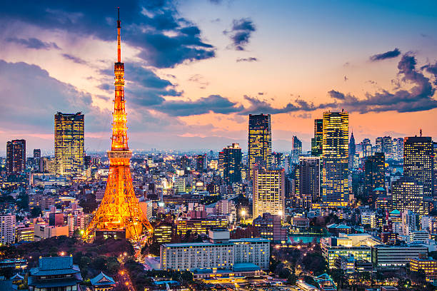 tokyo cityscape - tokyo japan stock photos and pictures