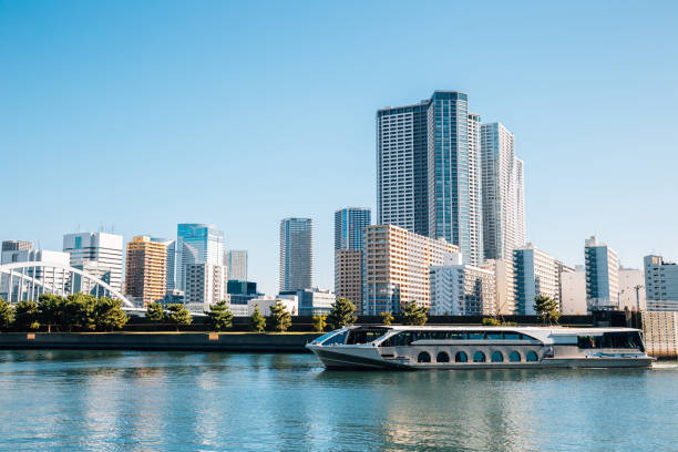 Tokyo cityscape, Sumida river and modern buildings in Japan stock photo