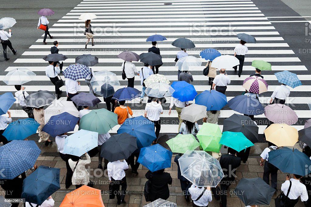 Tokyo Crosswalk Scene on a Rainy Day stock photo