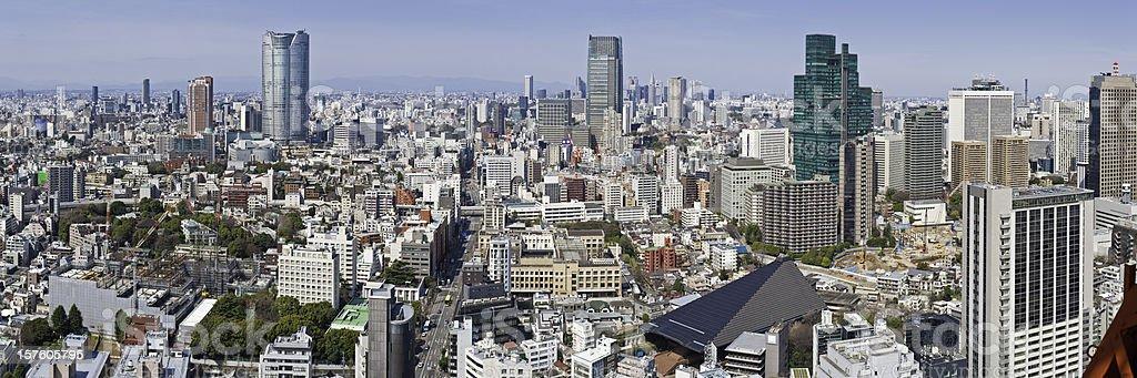 Tokyo crowded cityscape panorama downtown skyscrapers Roppongi Shinjuku Minato-ku Japan stock photo