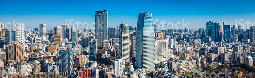 Tokyo crowded downtown skyscrapers futuristic citycsape panorama Minato Japan stock photo