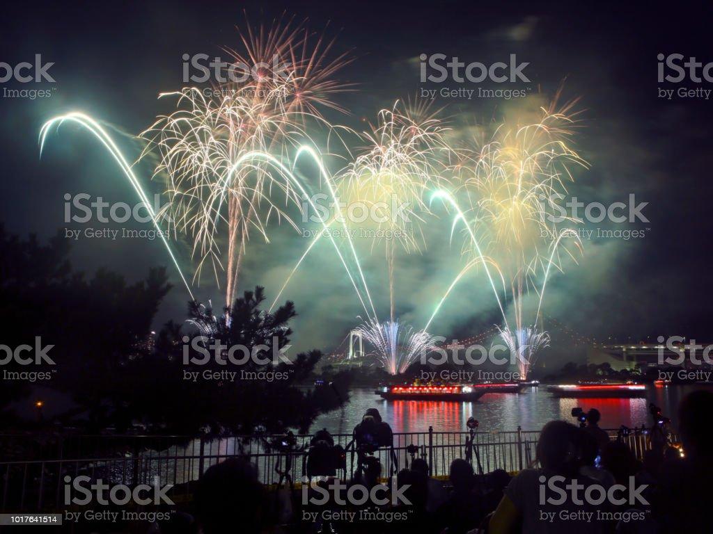 Tokyo Fireworks At Tokyo Bay Stock Photo - Download Image