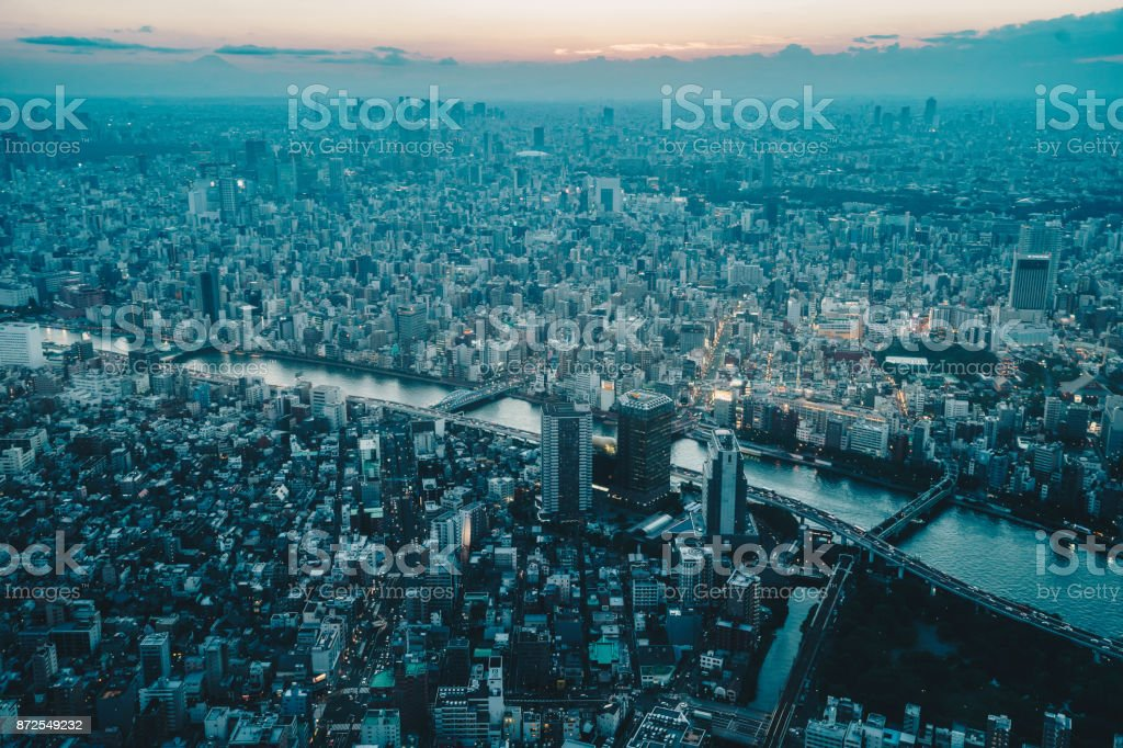 Tokyo from above at sunset. Tokyo city, Japan stock photo