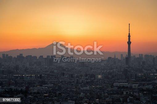1131743616 istock photo Tokyo Fuji diamond with Tokyo Skytree 976671332