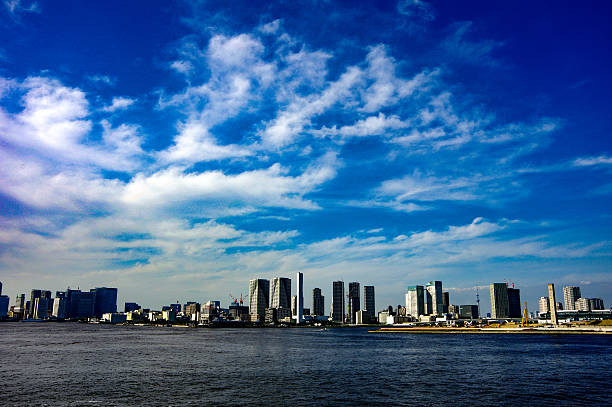 Tokyo high-rise buildings as seen from the Rainbow Bridge stock photo