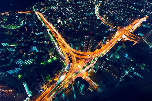 tokyo highway kreuzung von oben - japanische lampen stock-fotos und bilder