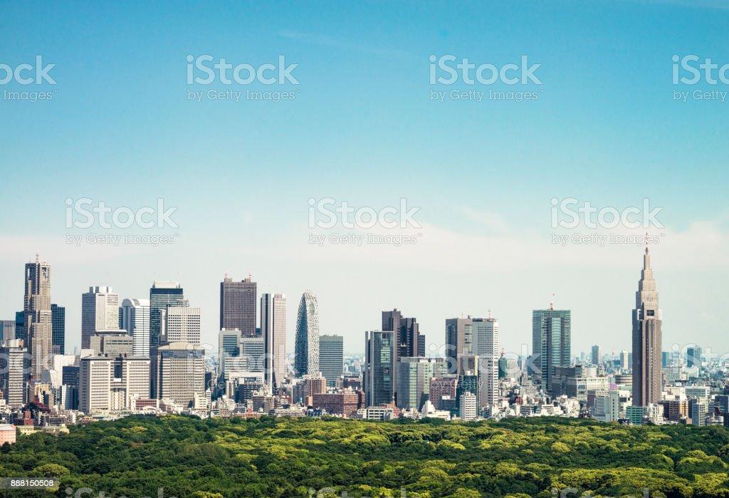 Tokyo horizon - skyscrapers of Ginza and Shinjuku stock photo