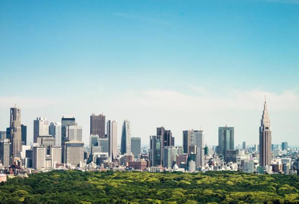horizon de tokyo - gratte-ciels de ginza et shinjuku - ville moyenne photos et images de collection