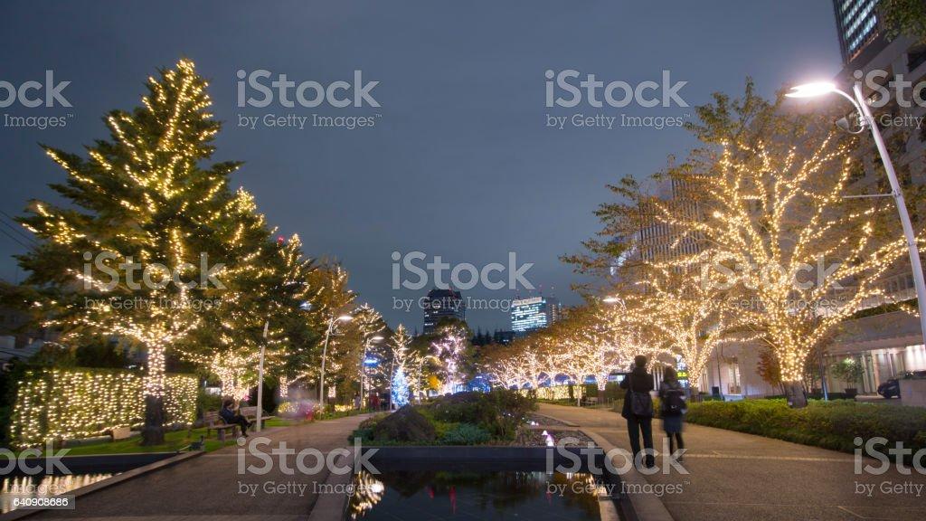 Tokyo illumination at Roppongi hills stock photo