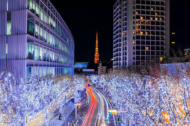tokyo illuminations - weihnachten japan stock-fotos und bilder