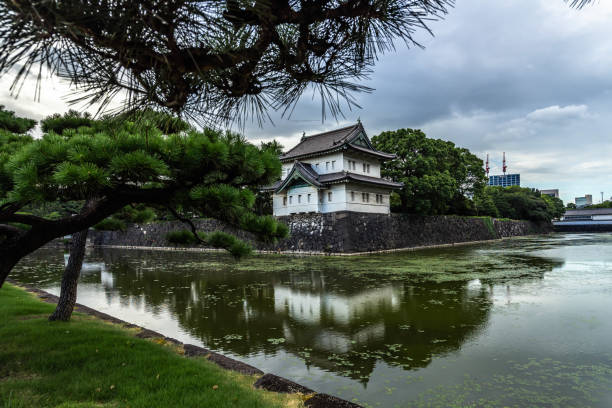 Tokyo Imperial Palace reflected in water, Japan stock photo