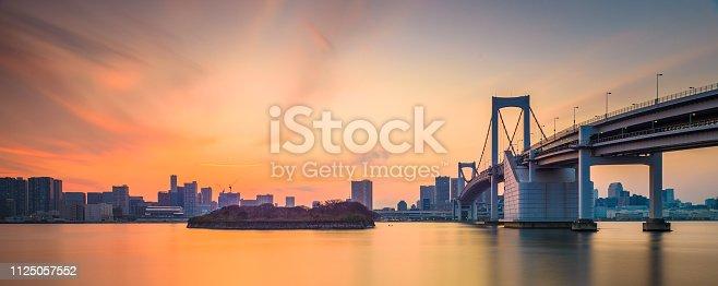 928415496 istock photo Tokyo, Japan at Rainbow Bridge spanning the bay 1125057552