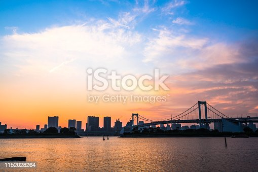 928415496 istock photo Tokyo, Japan at Rainbow Bridge spanning the bay 1152028264