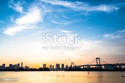 928415496 istock photo Tokyo, Japan at Rainbow Bridge spanning the bay 1188401213