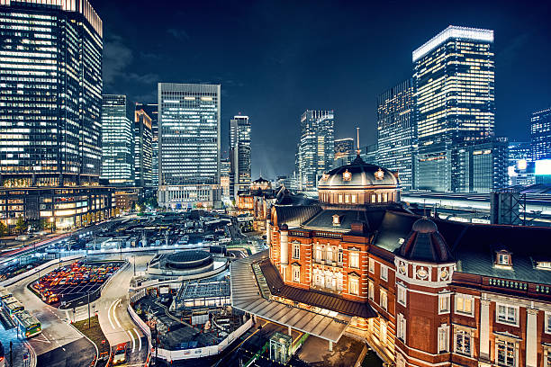 tokyo, japan cityscape at tokyo station - tokyo japan stock photos and pictures