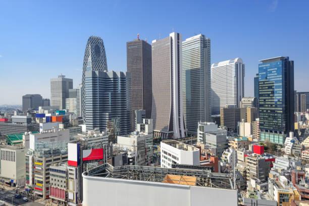 tokyo, japan financial district - shinjuku ward stock photos and pictures