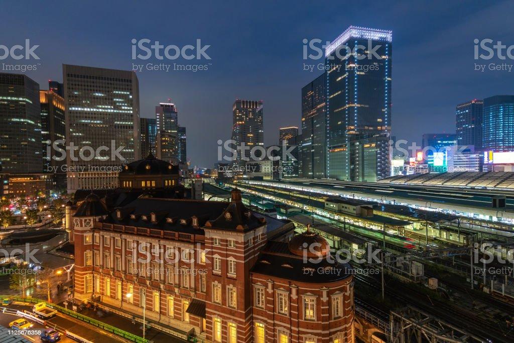 Tokyo Japan, Night city skyline at Tokyo Station