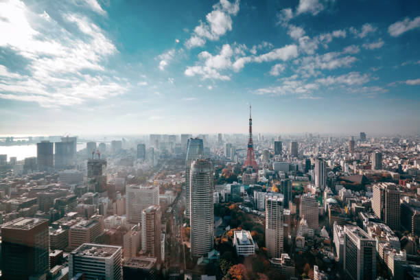 tokyo, japan skyline - japanese culture stock pictures, royalty-free photos & images