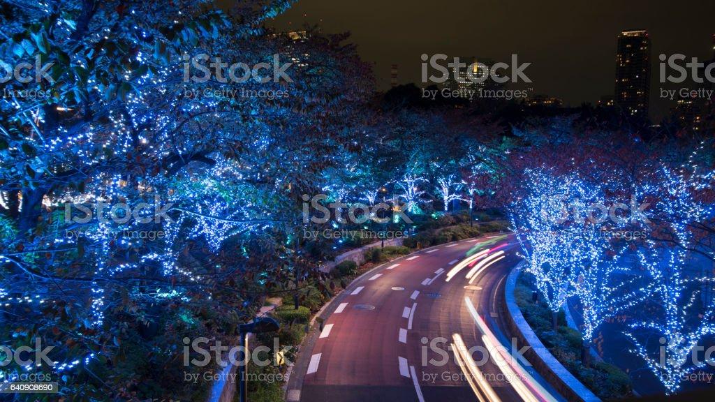 Tokyo Light illumination at Roppongi hills stock photo