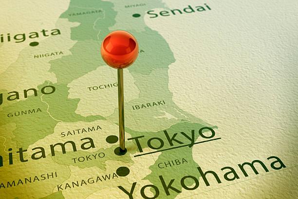 東京マップ街のストレートピンヴィンテージ - 日本 地図 ストックフォトと画像