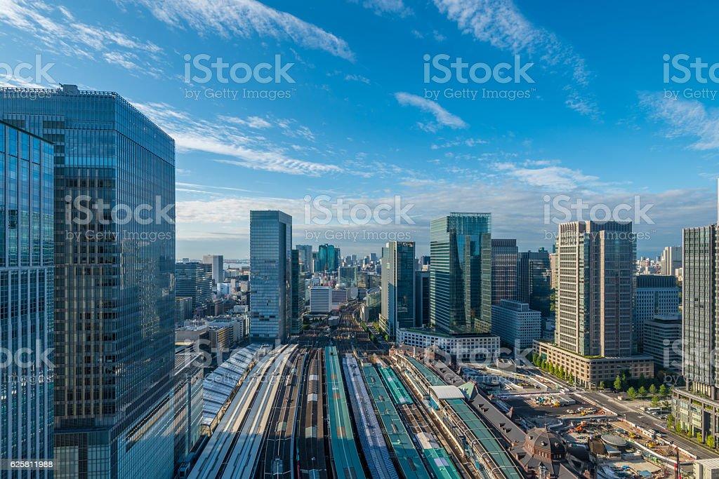 Tokyo Marunouchi buildings and Tokyo station stock photo