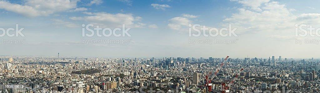 Tokyo mega-panorama cityscape landmarks downtown skyscrapers big sky Japan stock photo